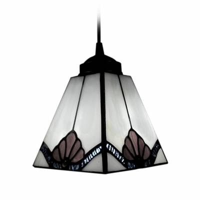 Pure White Square Shape Shade Tiffany Art Glass Style Mini Pendant Regarding Tiffany Mini Pendant Lights (View 12 of 15)