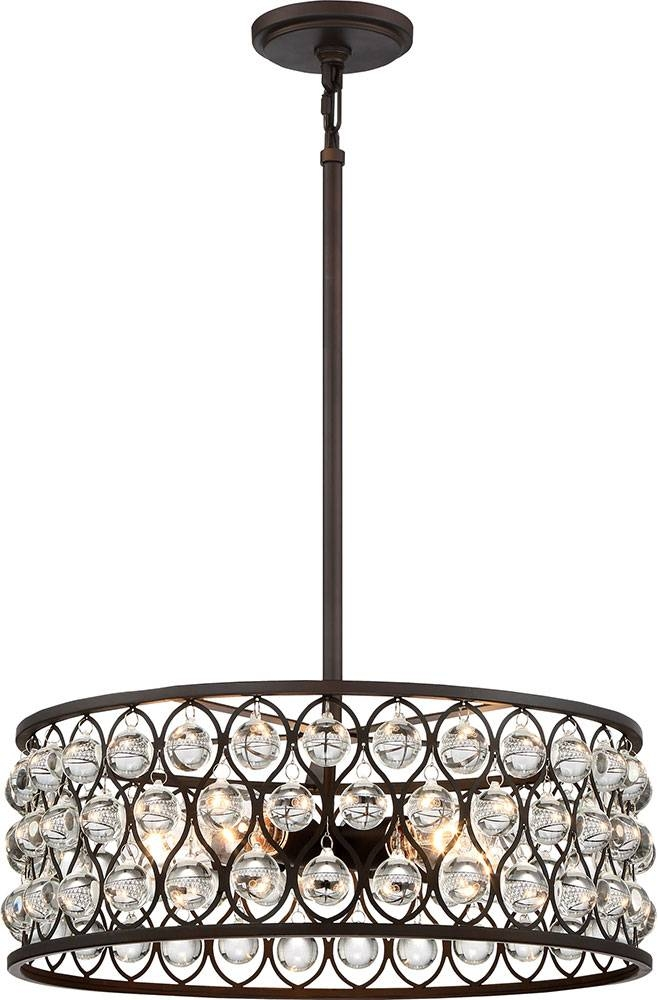 Quoizel Ax2820Pn Alexandria Contemporary Palladian Bronze Drum Pertaining To Quoizel Pendant Lights Fixtures (#3 of 15)
