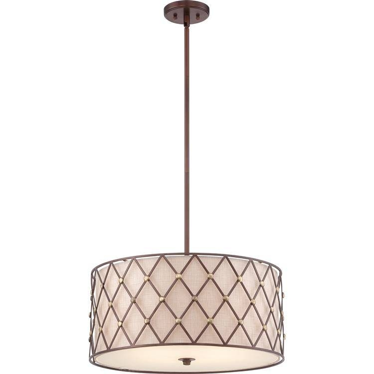"Inspiration about Quoizel Bwl2822Cc Brown Lattice Copper Canyon Finish 10"" Tall Drum Regarding Brown Drum Pendant Lights (#13 of 15)"