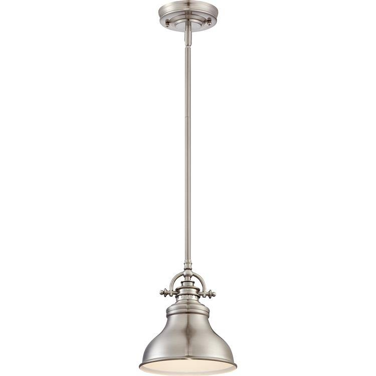 "Inspiration about Quoizel Er1508Bn Emery Retro Brushed Nickel Finish 9"" Tall Mini Throughout Brushed Nickel Mini Pendant Lights (#1 of 15)"