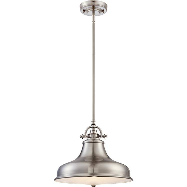 "Inspiration about Quoizel Er1814Bn Emery Vintage Brushed Nickel Finish 13.5"" Wide Pertaining To Satin Nickel Pendant Light Fixtures (#9 of 15)"