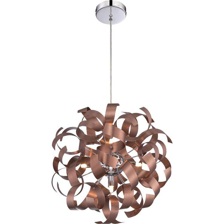 "Quoizel Rbn2817Sg Ribbons Modern Satin Copper Finish 17"" Tall With Regard To Quoizel Pendant Lights Fixtures (#12 of 15)"