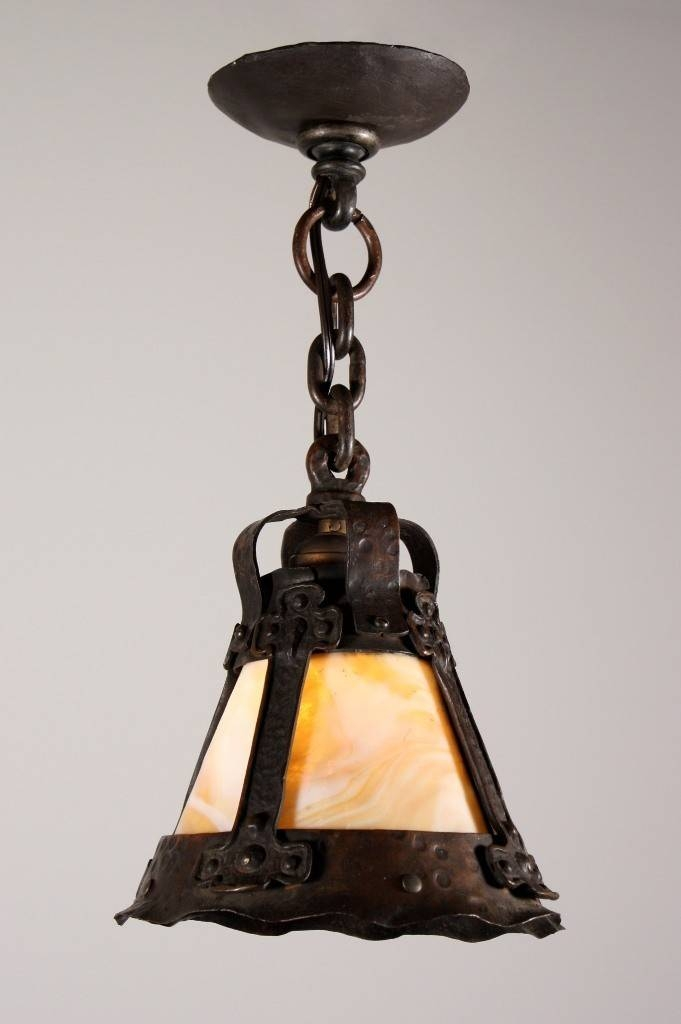 Rare Antique Arts & Crafts Pendant Light With Slag Glass, Early Pertaining To Arts And Crafts Pendant Lighting (View 9 of 15)