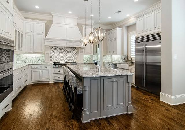 Recessed Light Conversion Kit Kitchen Traditional With Gray Island Throughout Recessed Lights To Pendant (#10 of 15)