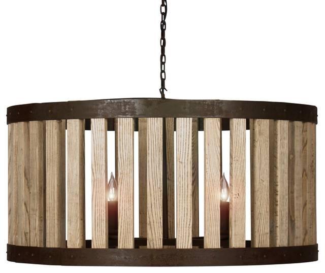 Reclaimed Elm Wood Rustic Barrel Pendant Light – Pendant Lighting Inside Reclaimed Pendant Lighting (View 12 of 15)
