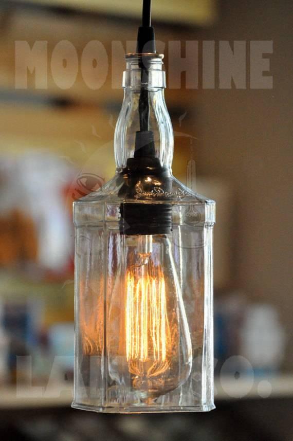 Recycled Whiskey Hanging Pendant Bottle Light Lamp Intended For Liquor Bottle Pendant Lights (View 6 of 15)