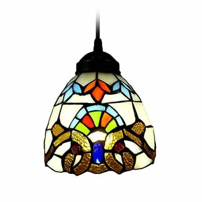 Renaissance Pattern Baroque Tiffany Art Stained Glass Style Mini Pertaining To Stained Glass Pendant Light Patterns (View 15 of 15)