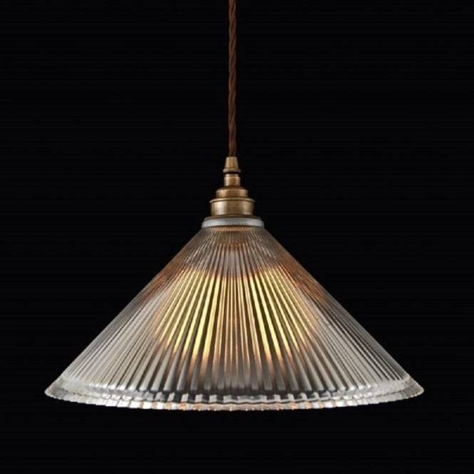 Ribbed Glass Pendant Light Shade On Braided Cord Cable With Glass Pendant Lights Shades Uk (View 15 of 15)