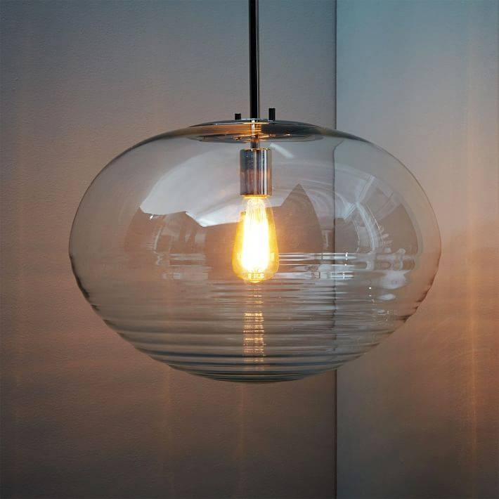 Ripple Glass Pendant – Oval | West Elm Intended For West Elm Glass Pendants (View 10 of 15)