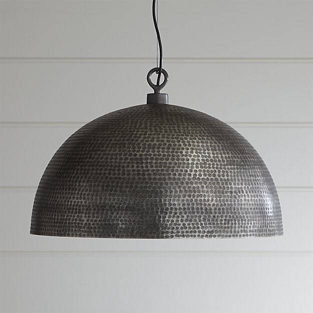 Rodan Hammered Metal Pendant Light | Crate And Barrel With Regard To Hammered Metal Pendant Lights (View 5 of 15)