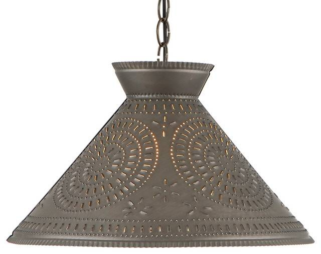 Roosevelt Shade Light With Chisel, Kettle Black Punched Tin Within Punched Tin Pendant Lights (#13 of 15)