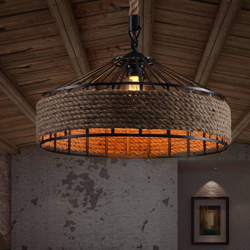 Rope Drum Shape Industrial Style Light Fixtures Throughout Industrial Looking Lights Fixtures (View 15 of 15)