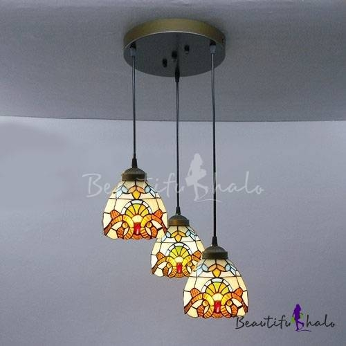 Round Base Baroque Pattern 8 Inch Multi Light Hanging Pendant With Regard To Stained Glass Pendant Light Patterns (View 4 of 15)