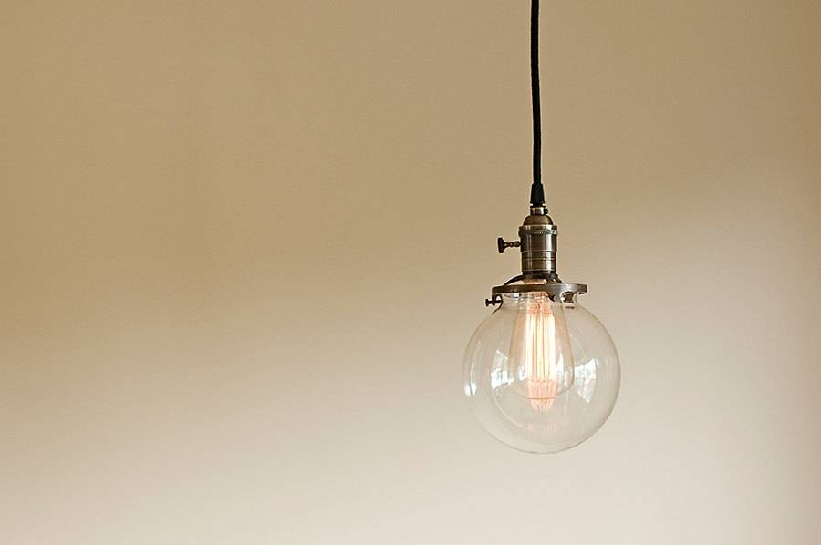 Round Glass Vintage Industrial Pendant Light Fixture 6 Regarding Etsy Pendant Lights (#14 of 15)