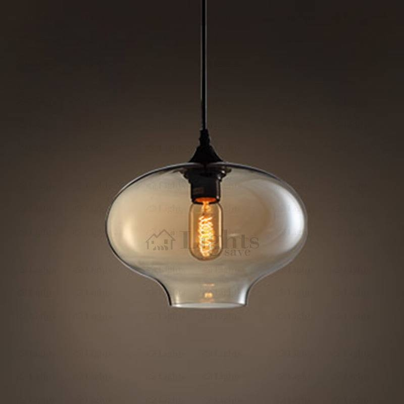 Round Shape Hand Blown Glass Pendant Lights Industrial Within Hand Blown Glass Pendant Lights (#14 of 15)