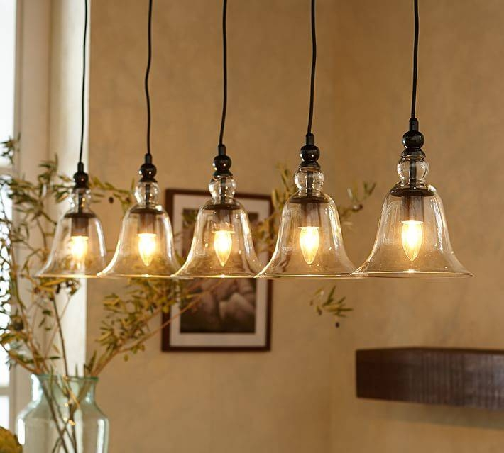 Rustic Glass 5 Light Pendant | Pottery Barn Inside Barn Pendant Light Fixtures (View 13 of 15)