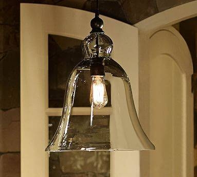Rustic Glass Indoor/outdoor Pendant – Large | Pottery Barn Inside Glass Bell Shaped Pendant Light (#14 of 15)