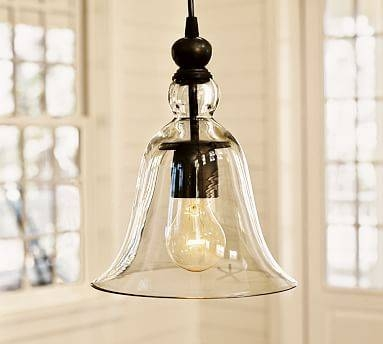 Rustic Glass Indoor/outdoor Pendant – Small | Pottery Barn Inside Glass Bell Shaped Pendant Light (#15 of 15)