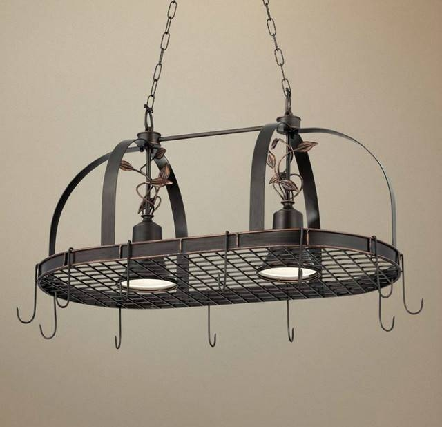 Rustic Style Kitchen Design With 2 Light Hanging Pot Rack Pertaining To Pot Rack With Lights Fixtures (#12 of 15)