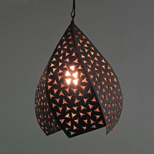 Rustic Tin Hanging Twisted Light Fixture Pertaining To Punched Tin Lighting Fixtures (#14 of 15)