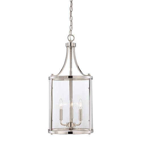 Savoy House Penrose Chrome And Polished Nickel Three Light Foyer Throughout Polished Nickel Pendant Lights (#11 of 15)