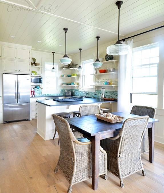 Schoolhouse Pendants Grace Kitchen Of Idyllic Hawaiian Retreat Inside Cottage Style Pendant Lighting (View 13 of 15)