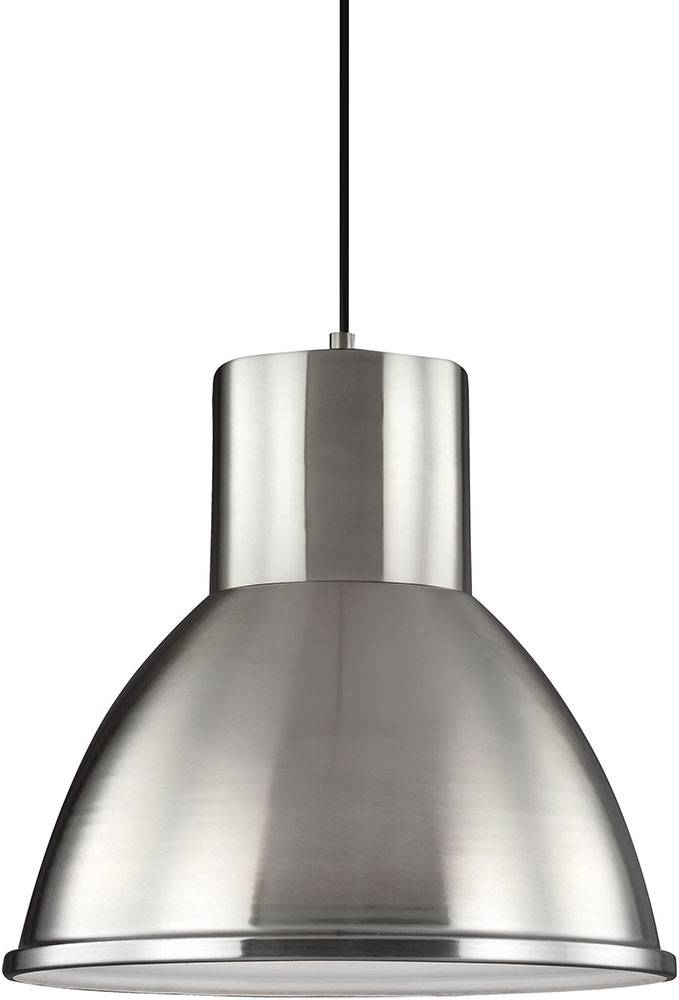 Seagull 6517401ble 962 Division Street Brushed Nickel Fluorescent Pertaining To Brushed Nickel Pendant Lights (View 4 of 15)
