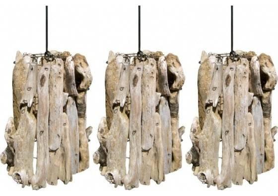 Set Of Three Driftwood Pendants – Beach Style – Pendant Lighting Within Beachy Pendant Lighting (#14 of 15)