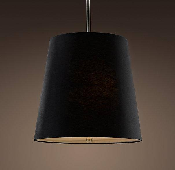 Shade Pendant Black Linen – Pendants – Restoration Hardware In Black Drum Pendants (View 3 of 15)