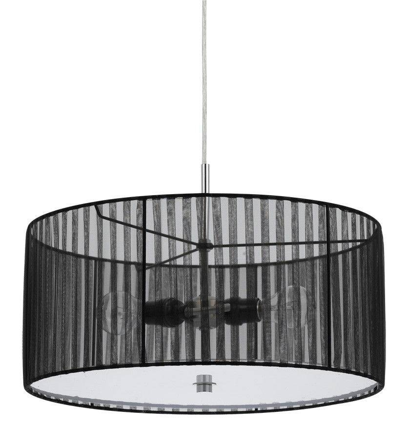 Sheer Black Drum Pendant Light Plug In | Lamp Shade Pro Pertaining To Black And White Drum Pendant Lights (View 4 of 15)