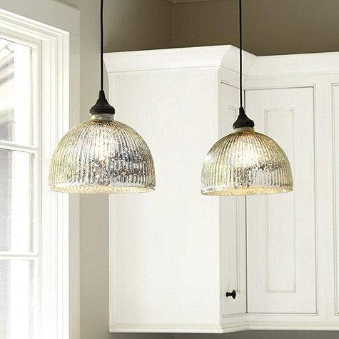 Silver Glass Shade Throughout Mercury Glass Ceiling Lights (#12 of 15)