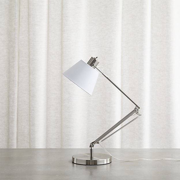 Slim Desk Lamp With White Shade | Crate And Barrel With Regard To Crate And Barrel Shades (#11 of 15)