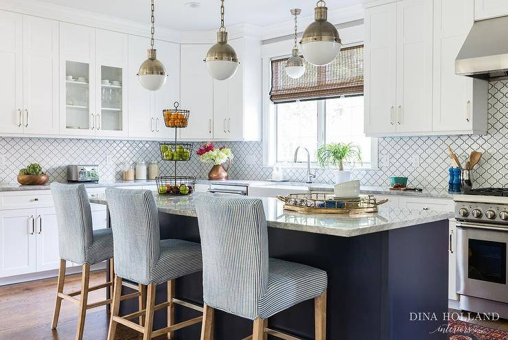 Small Hicks Pendants With Blue Center Island – Transitional – Kitchen Pertaining To Small Hicks Pendants (View 9 of 15)