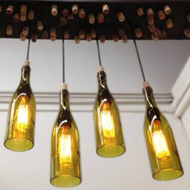 Soda Bottle Chandelier Pendant Lights Houzz For Wine Bottle Inside Wine Bottle Pendant Lights (#10 of 16)