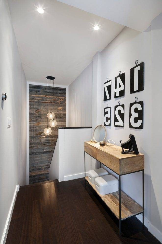 Stairwell Wall Ideas Hall Contemporary With Reclaimed Wood Wall Within Pendant Lights Stairwell (#15 of 15)