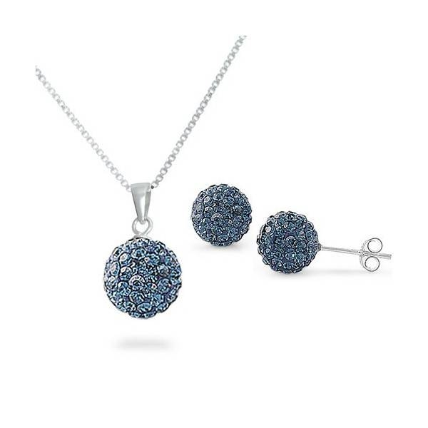 Sterling Silver Blue Sapphire Disco Ball Necklace & Earrings Set Intended For Disco Ball Pendants (View 10 of 15)