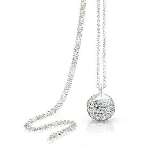 Sterling Silver Crystal Disco Ball Necklacelovethelinks With Disco Ball Pendants (View 5 of 15)