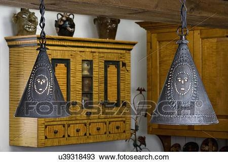 Stock Photo Of Kitchen Details: Punched Tin Pendant Light Fixtures For Punched Tin Pendant Lights (#14 of 15)