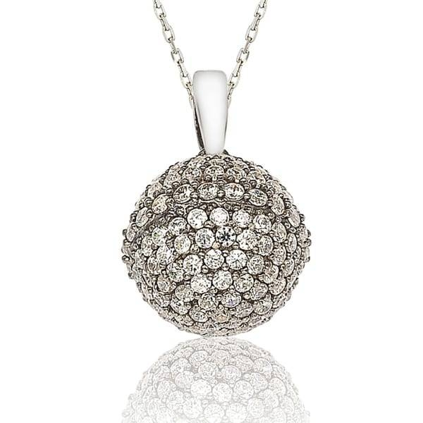 Suzy Levian Cubic Zirconia Sterling Silver Disco Ball Pendant For Disco Ball Pendants (View 7 of 15)