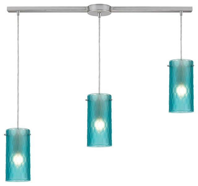 Synthesis 3 Light Pendant – Contemporary – Pendant Lighting – Intended For Aqua Glass Pendant Lights (#14 of 15)