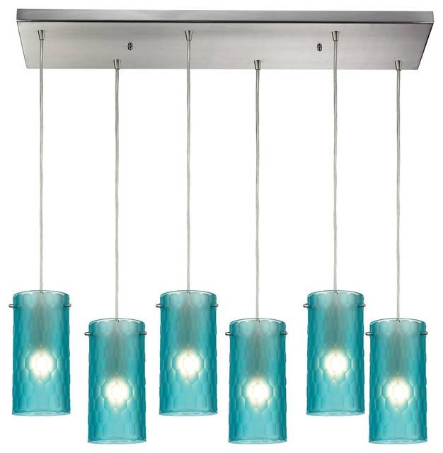 Synthesis 6 Light Pendant – Contemporary – Pendant Lighting – Within Aqua Glass Pendant Lights (#15 of 15)
