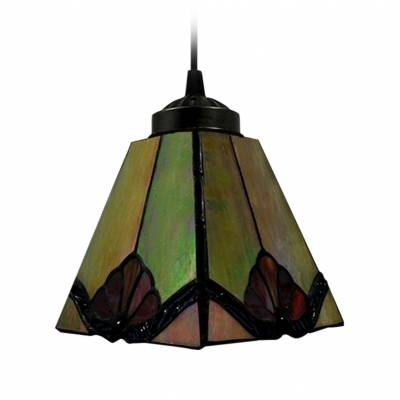 Tawny Tiffany Art Stained Glass Style Mini Pendant Light In Square Throughout Art Glass Mini Pendants (View 11 of 15)