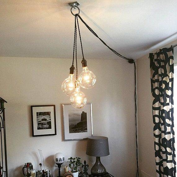 The 25+ Best Unique Chandelier Ideas On Pinterest | Black Dining With Regard To Plugin Pendant Lights (View 10 of 15)
