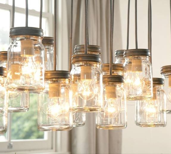 The Pink Chalkboard: Lighting Made From Mason Jars Throughout Cottage Style Pendant Lighting (View 5 of 15)