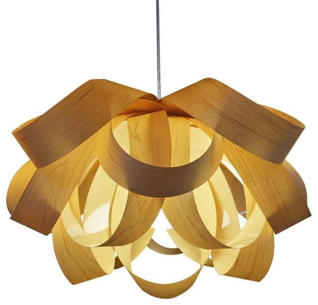 Popular Photo of Wood Veneer Pendant Lights