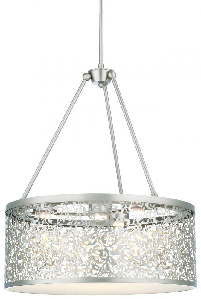 Three Light Brushed Nickel Drum Shade Pendant : M259778 | Lighting Throughout Brushed Nickel Drum Lights (#9 of 15)