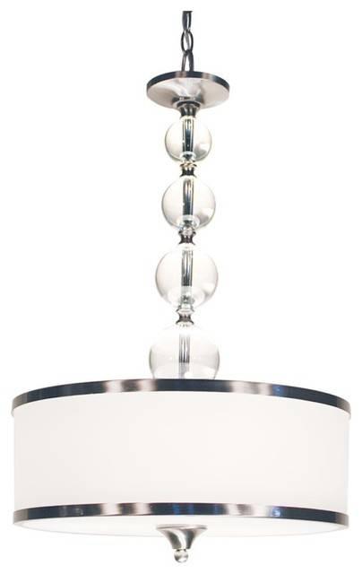 Three Light Brushed Nickel White Glass Drum Shade Pendant In White Drum Pendants (View 10 of 15)