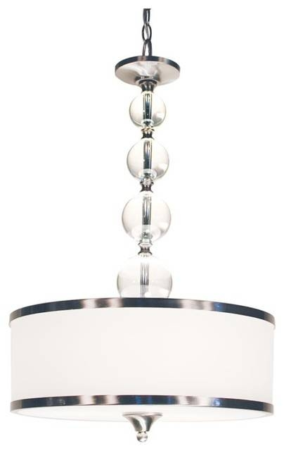 Three Light Brushed Nickel White Glass Drum Shade Pendant With Regard To Brushed Nickel Drum Lights (#10 of 15)