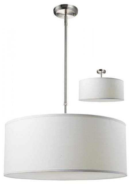 Three Light Brushed Nickel White Linen Shade Drum Shade Pendant In Black And White Drum Pendant Lights (View 8 of 15)