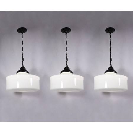 Three Matching Large Antique Art Deco Pendant Lights With Original Regarding Milk Glass Pendant Light Fixtures (#14 of 15)
